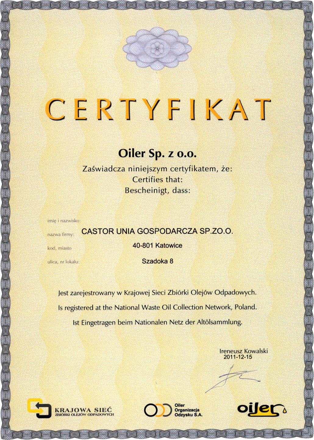 Certyfikat OILER