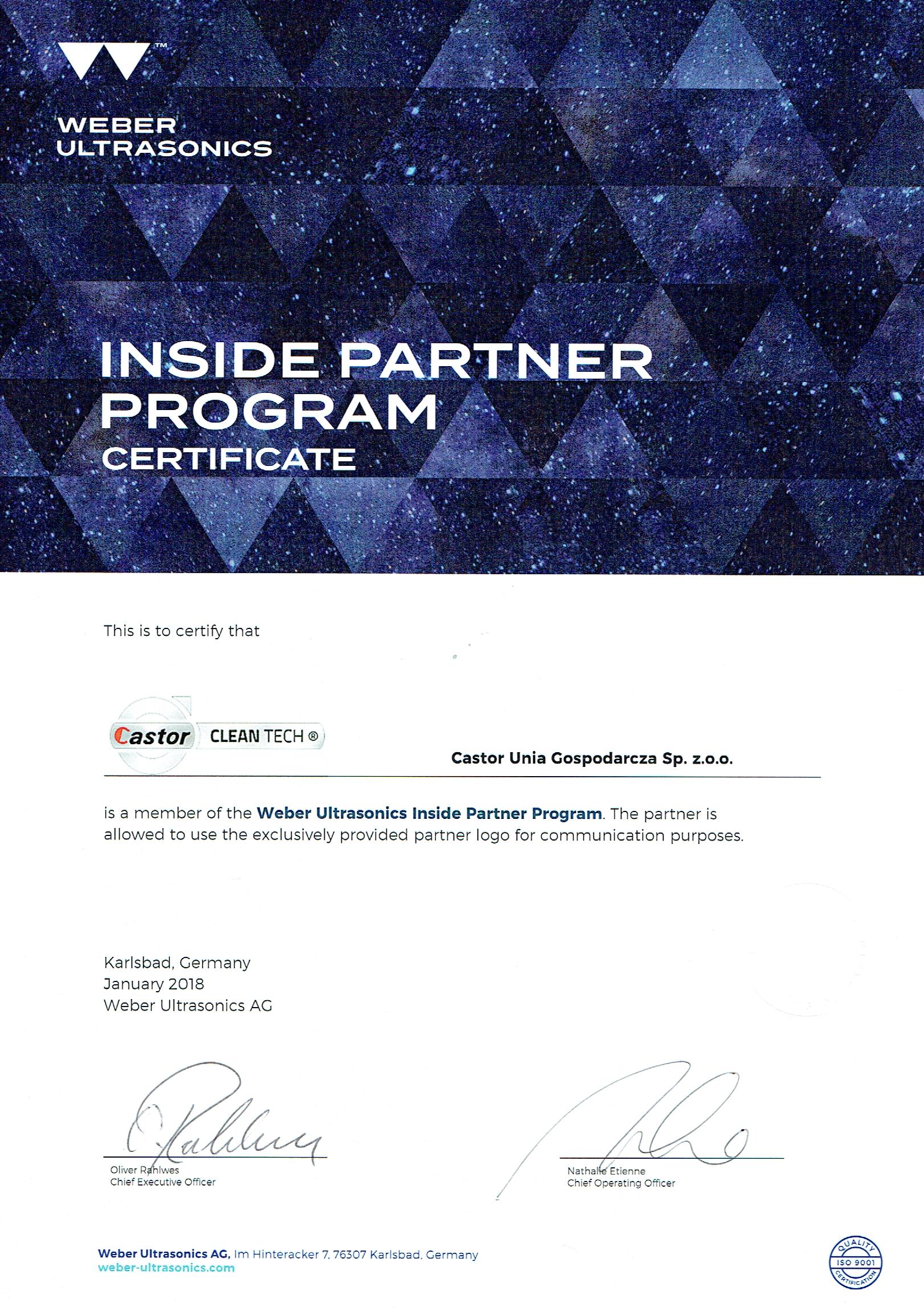 Certyfikat Weber, ultradźwięki