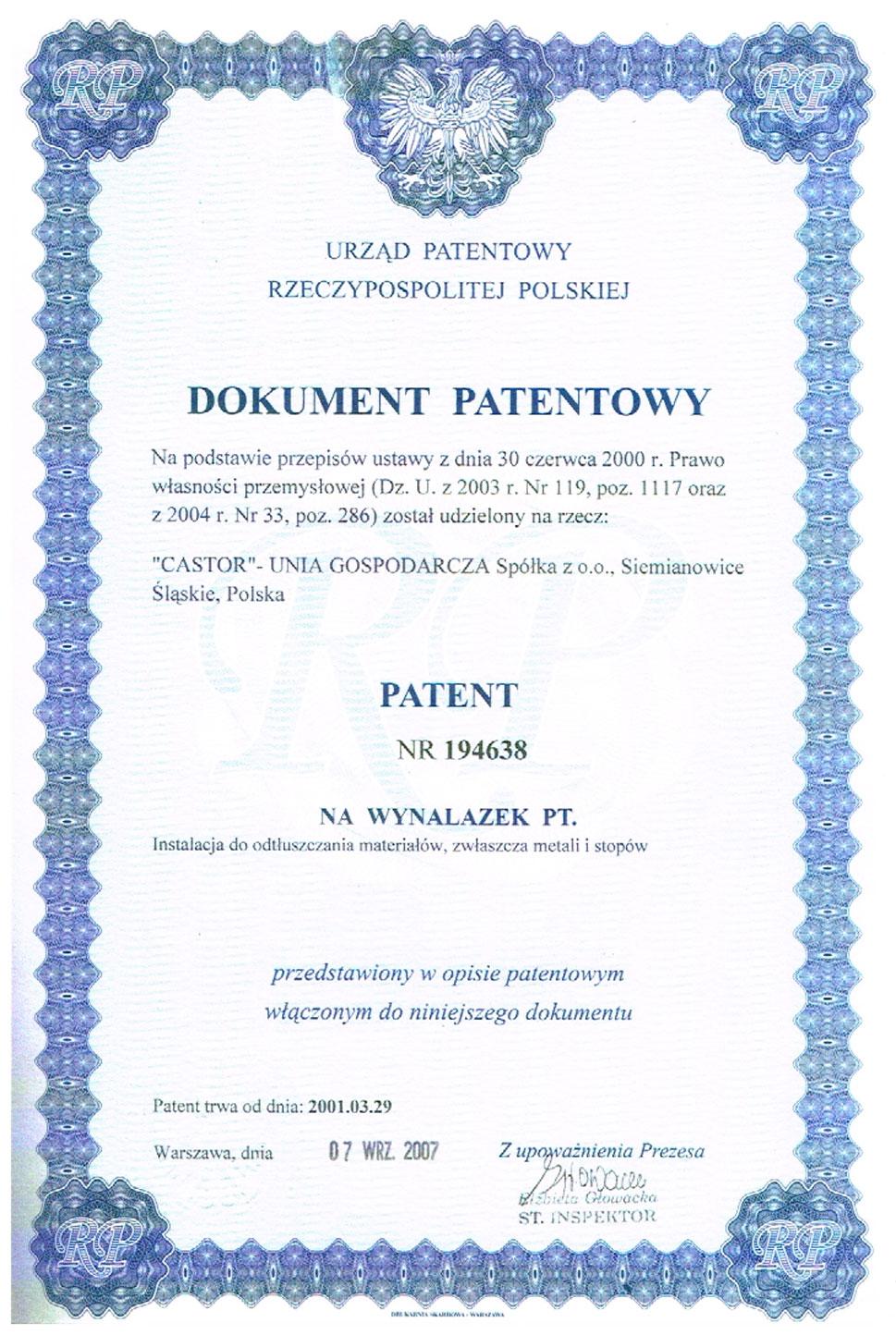 Dokument patentowy nr 194638
