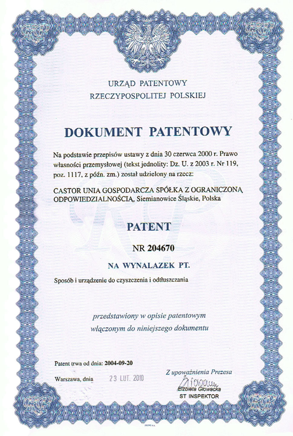 Dokument patentowy nr 204670