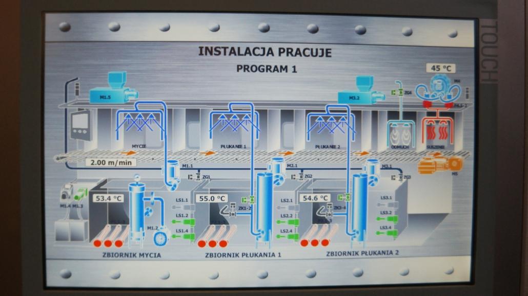 sterowanie procesem mycia części przemysłowych