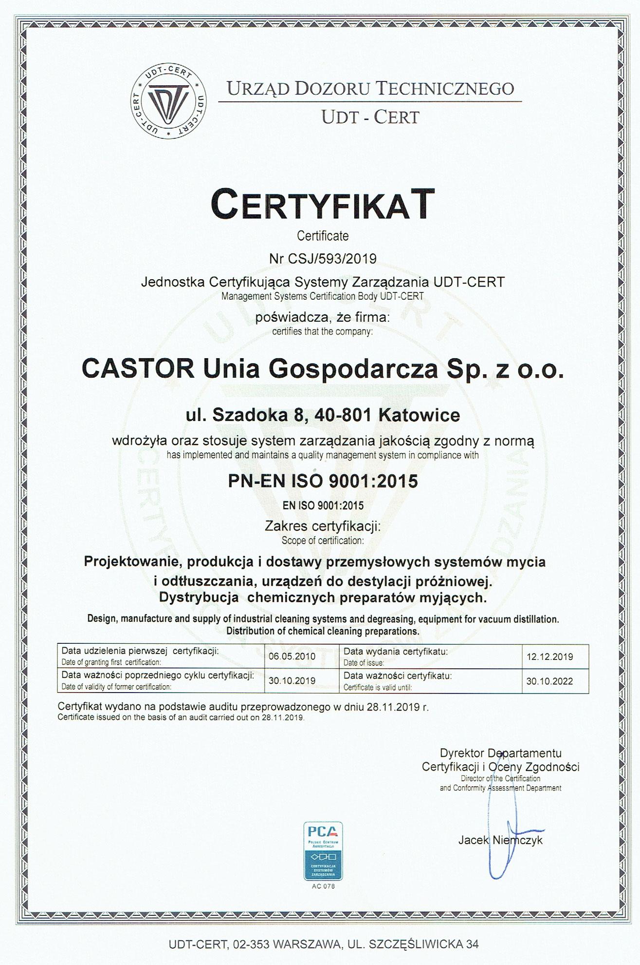 ISO 9001:2015 Technologie mycia przemysłowego